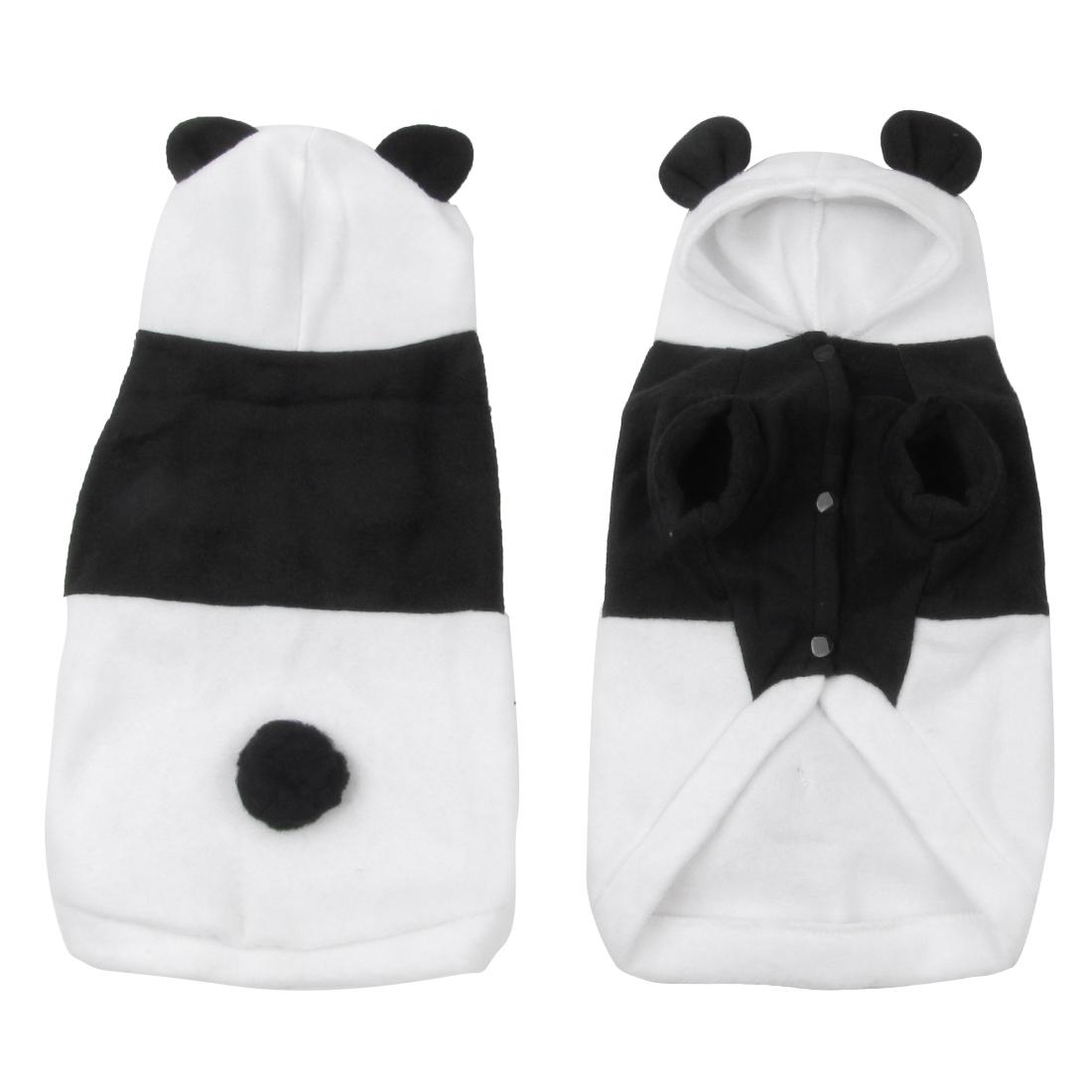 Black White Hoodie Panda Shpaed Pet Dog Puppy Outerwear Jacket Coat Size XL
