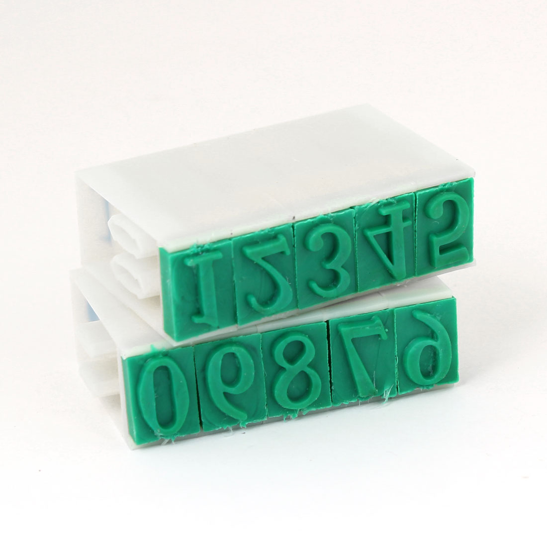 18mm Wide Off White Green Plastic Rubber 0-9 Number Detachable Numbering Stamp