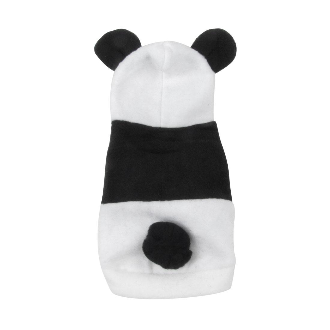 Single Breasted Panda Design Hoodie Yorkie Pet Dog Coat White Black Size XS