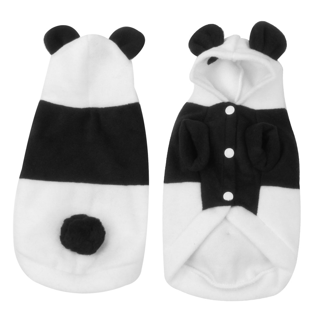 Winter Single Breasted Panda Design Hoodie Pet Dog Coat White Black Size S