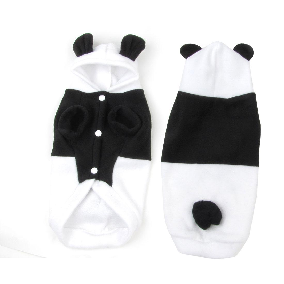 Press Stud Button Hooded Rabbit Design Pet Dog Cat Coat Jacket Black White M