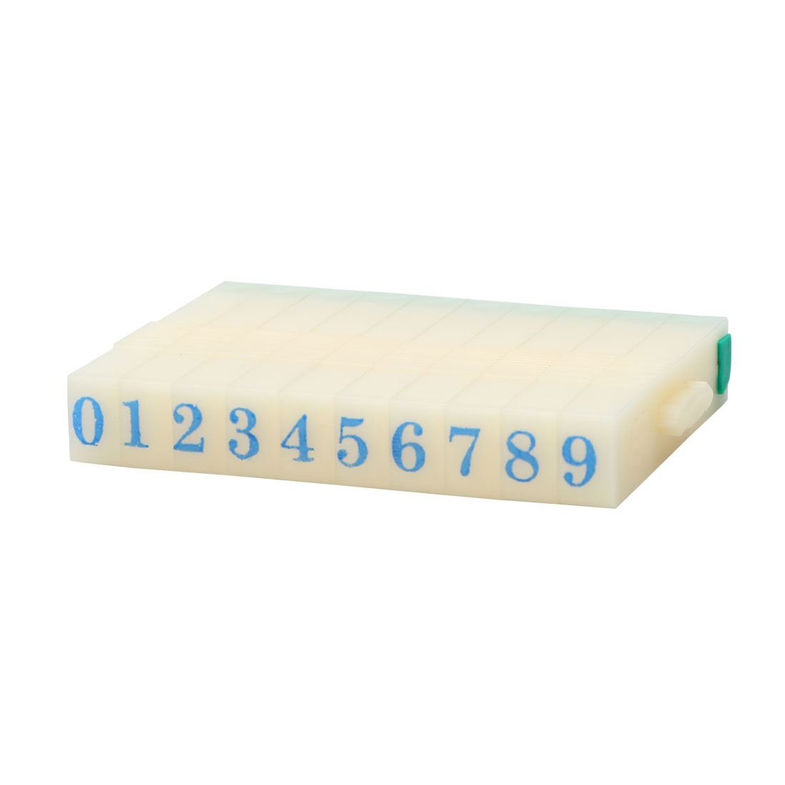8mm Width Off White Green Plastic Rubber 0-9 Digits Detachable Arabic Numerals Stamp
