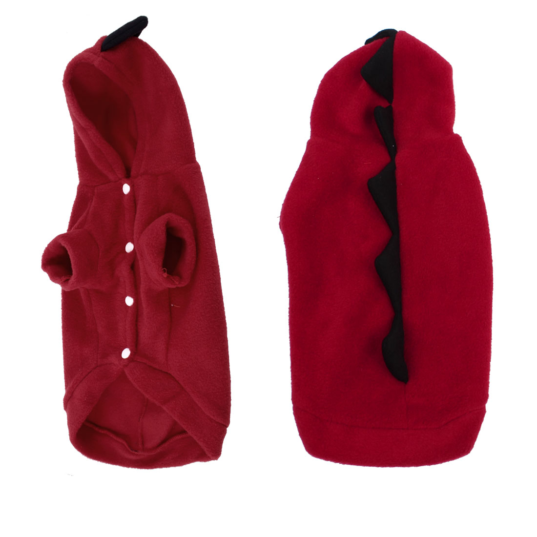 Short Sleeves Single Breasted Doggy Poodle Pet Hooded Coat Winter Clothes Red L