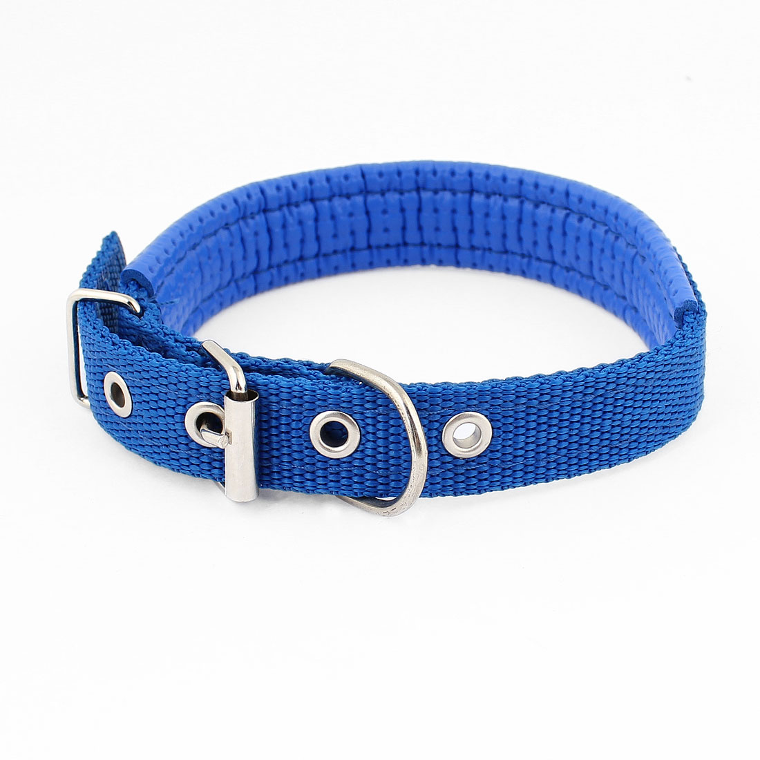 Blue Faux Leather 3cm Wide Adjustable Pet Cat Dog Doggy Puppy Collar Rope Belt