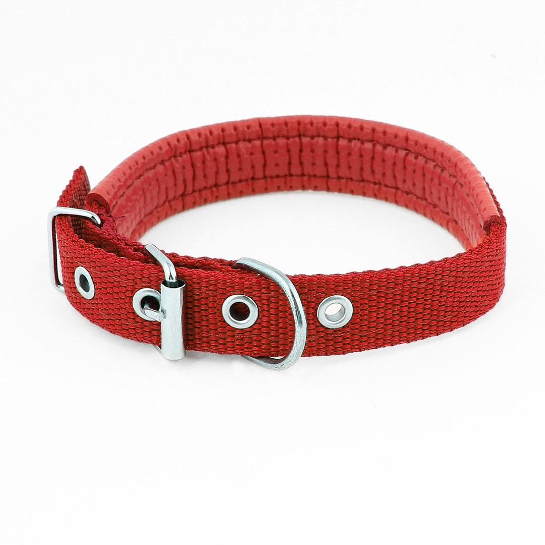 Single Prong Buckle Adjustable Nylon Pet Dog Doggie Collar Necklace Red