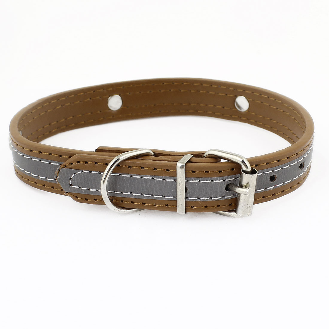 Brown Faux Leather Bone Printed Adjustable Pet Cat Dog Doggy Puppy Collar Rope