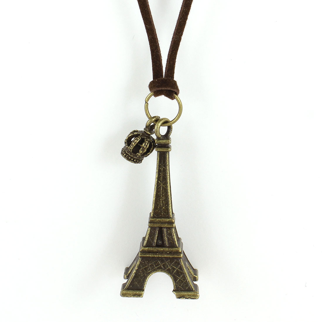 Coffee Color Nylon Cord Bronze Tone Eiffel Tower Pendant Sweater Necklace