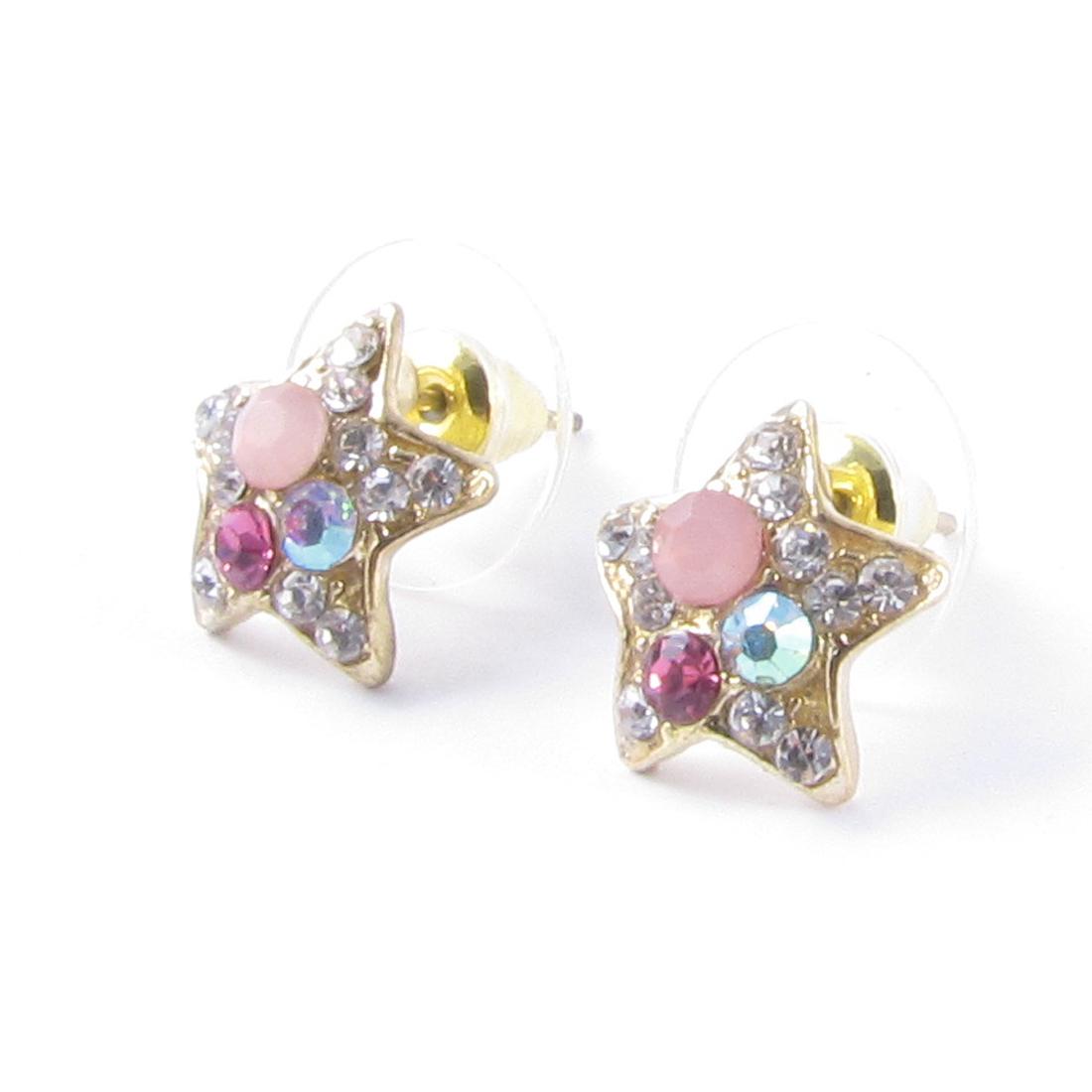 Girls Ear Ornament Glitter Rhinestones Gold Tone Star Design Stud Earrings Pair