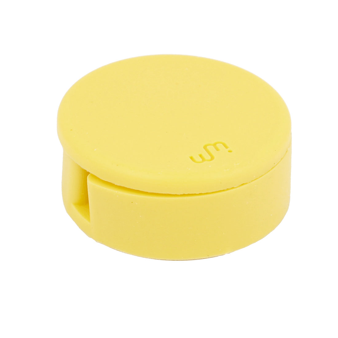Yellow Silicone Round Shape Headphone Cord Wrap Organizer w Screen Cleaner
