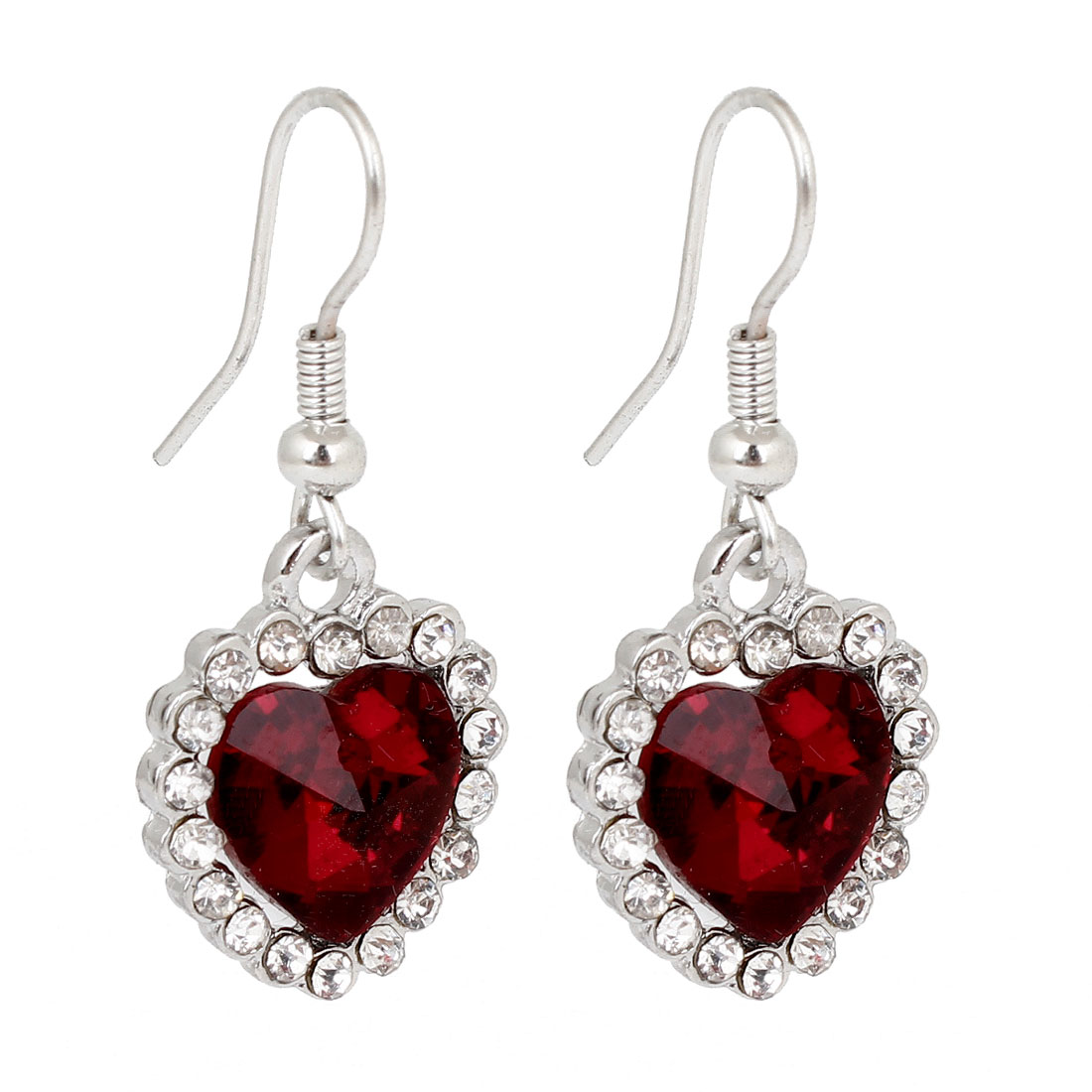 Women Sparkling Rhinestones Red Heart Decor Fish Hook Earrings Silver Tone Pair