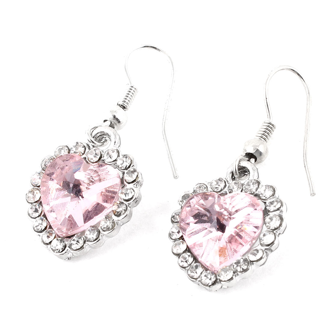 Pair Pink Faceted Bead Heart Pendant Fish Hook Earrings Silver Tone for Woman