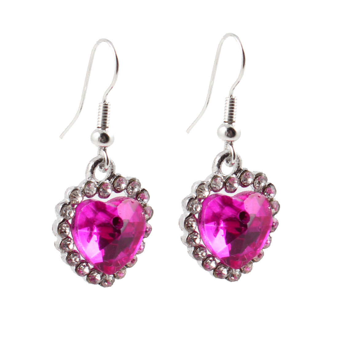 Rhinestones Faceted Bead Heart Pendant Fishhook Earrings Fuchsia Silver Tone