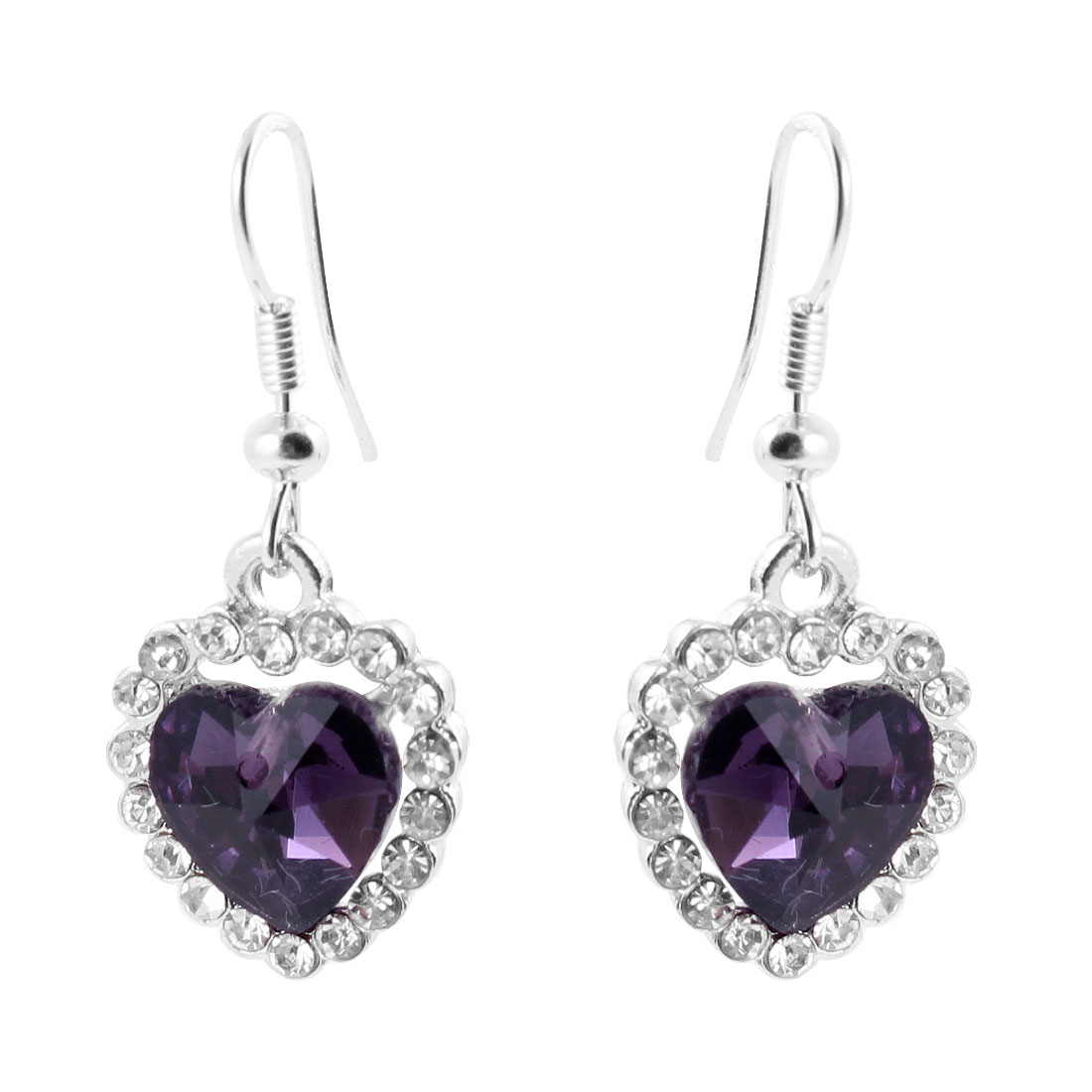 Rhinestone Faceted Bead Decor Heart Pendant Fishhook Earrings Purple Silver Tone