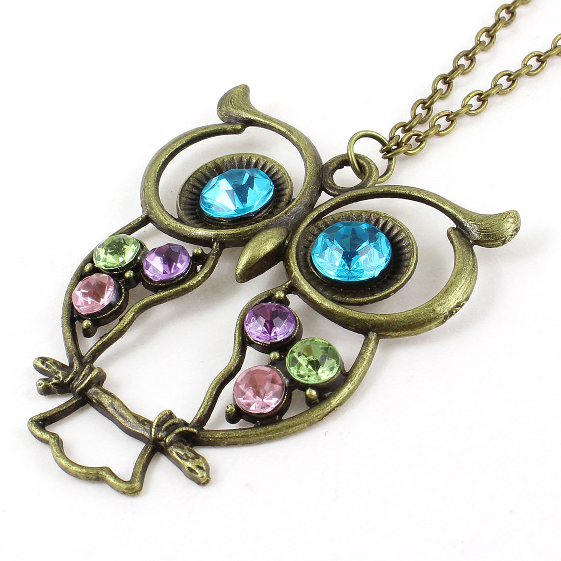 Lady Rhinestone Detail Bronze Tone Hollow Out Owl Head Pendant Sweater Necklace