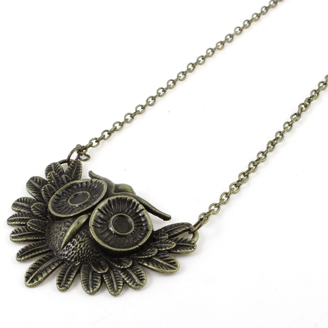 Women Owl Head Shaped Pendant Lobster Closure Bronze Tone Chain Sweater Necklace