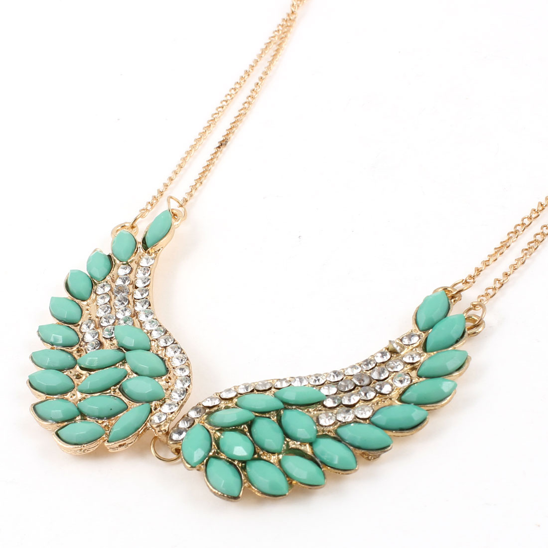 Lady Rhinestone Decor Wing Pendant Double Layer Chain Gold Tone Sweater Necklace Necklace