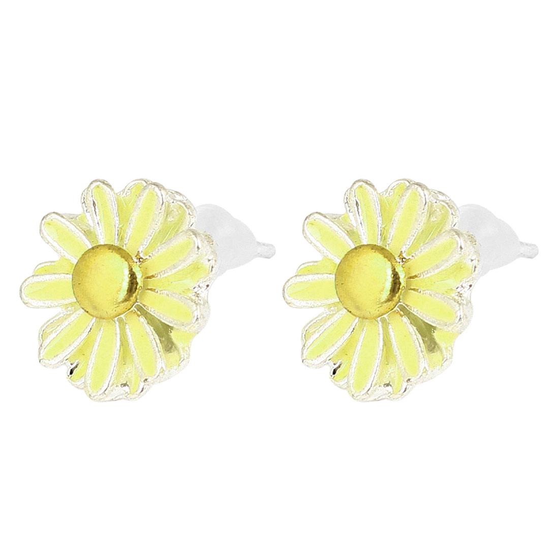 Lady Ear Decor Silver Tone Beige Flower Daisy Shaped Ornament Stud Earrings Pair