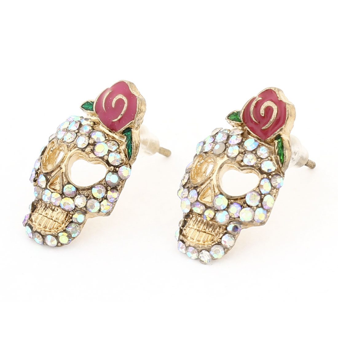 Pair Rhinestones Rose Skull Shaped Ornament Stud Earrings Gold Tone for Women