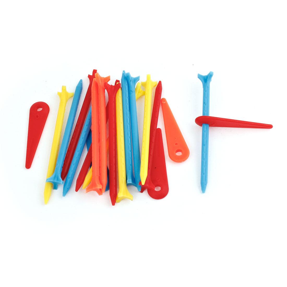 """20 Pcs Plastic Multi Color Nail Shaped Golf Tee 3 1/8"""" Long"""