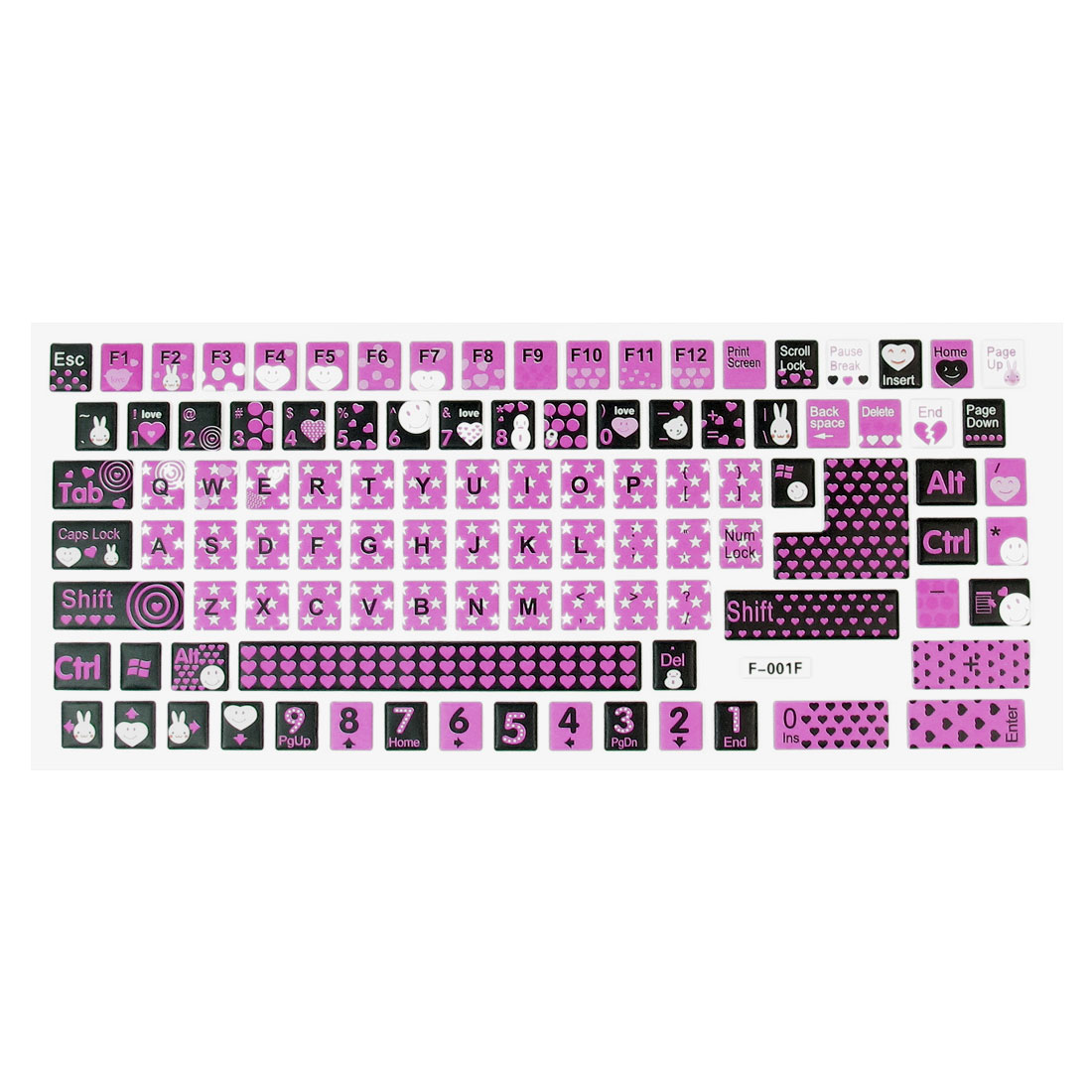 Laptop Pink Black White Hearts Print Soft Plastic Keyboard Stickers