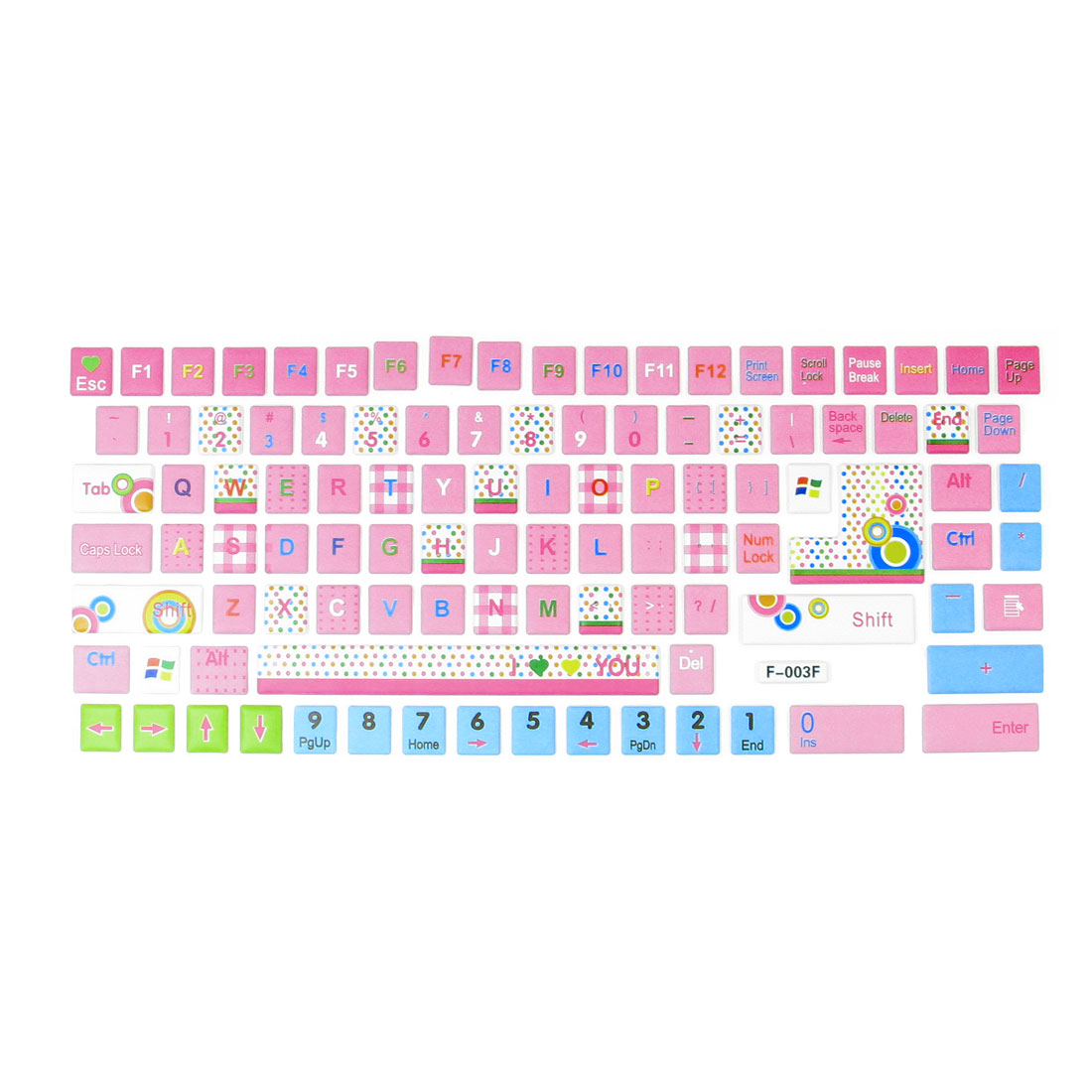 Plastic Colorful Mini Dots Pattern Keyboard Stickers Decal for Notebook