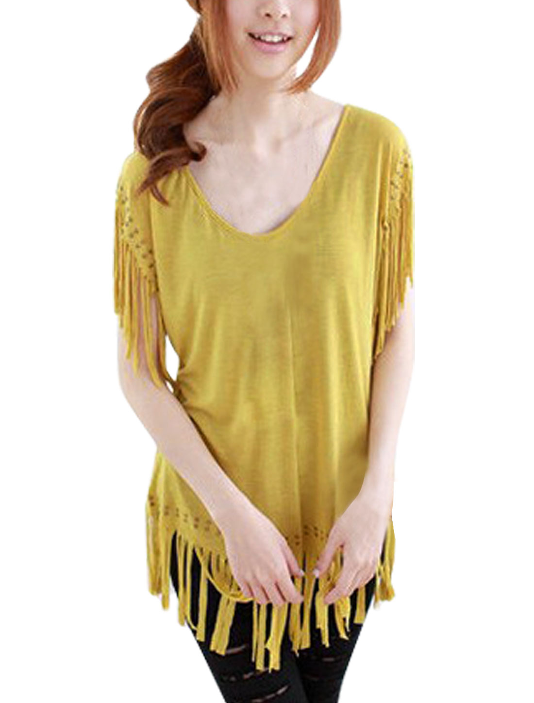 Ladies Curry Color Tassels Studs Decor Loose Top Blouse XL