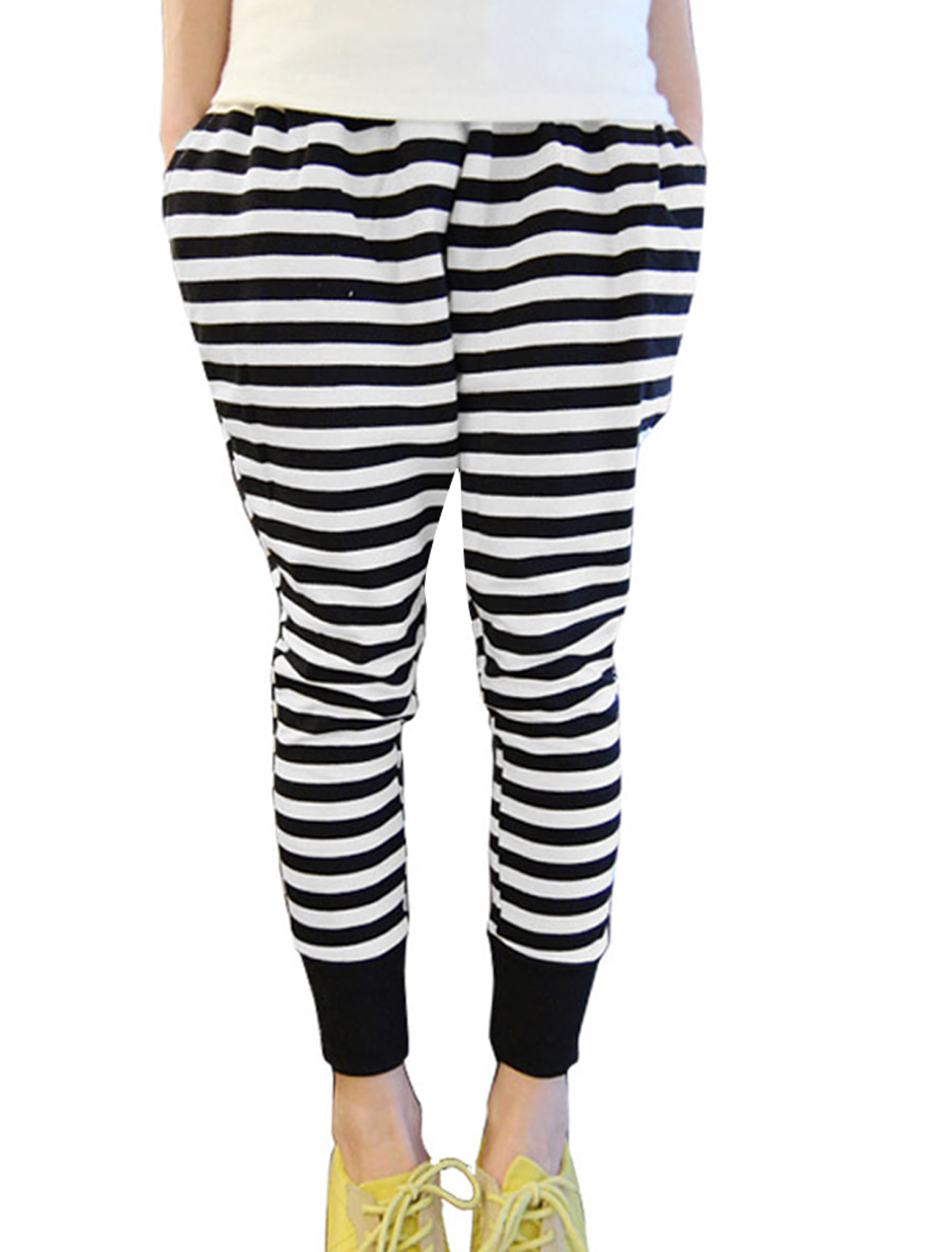Women Newly Striped Sport Stretchy Black White Casual Harem Pants L