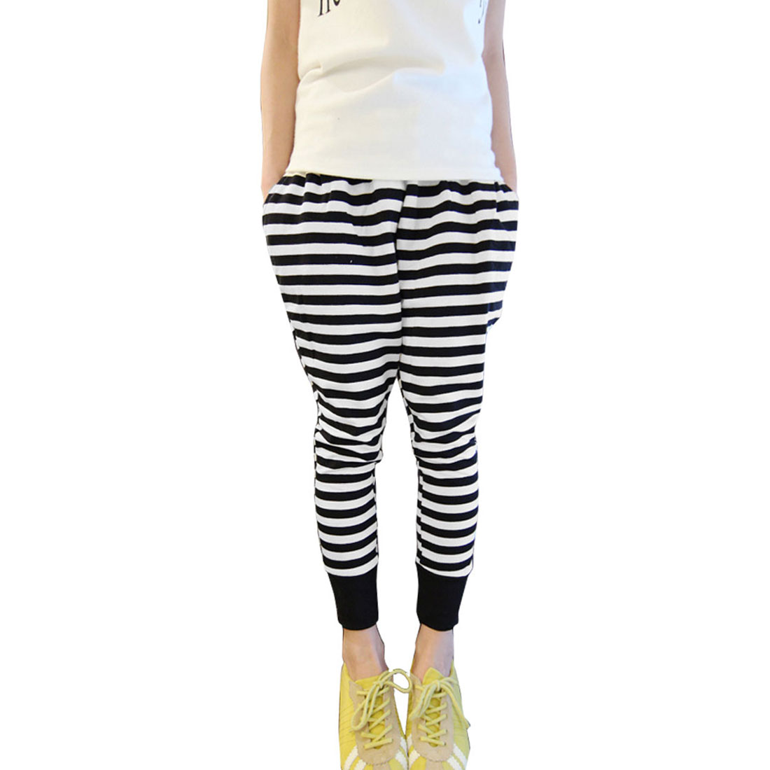 Girls Elastic Waist Black White Stripes Pattern Casual Pants 14