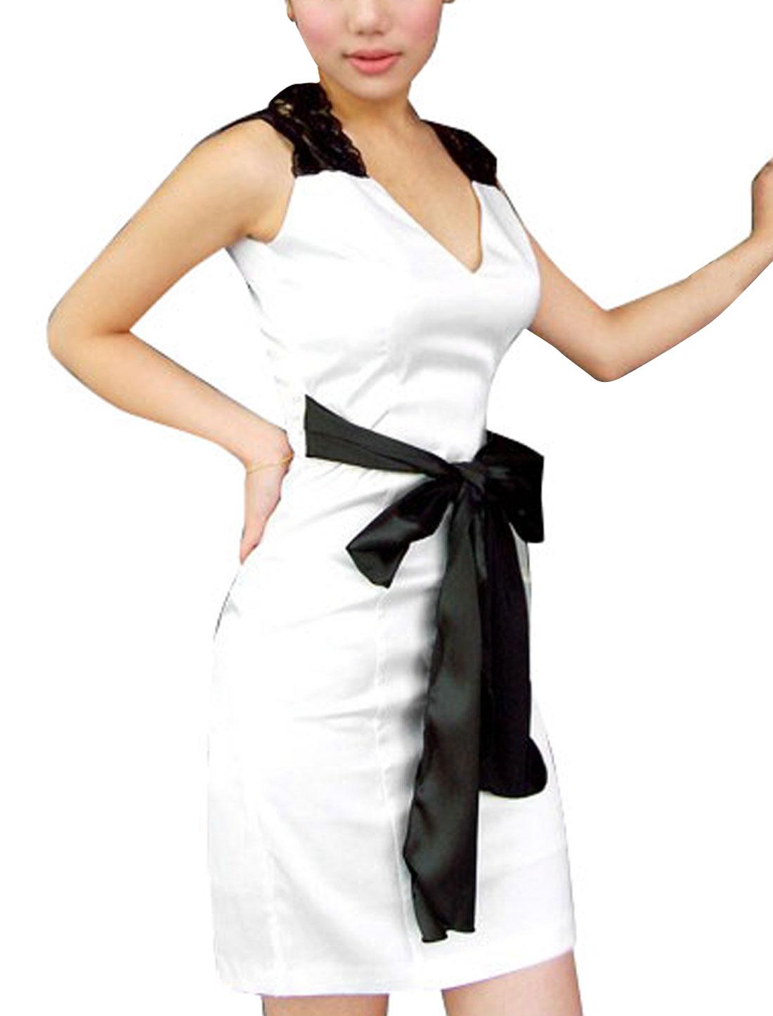 Ladies White V Neck Waist Tie Semi Sheer Lace Splice Short Slim Dress L