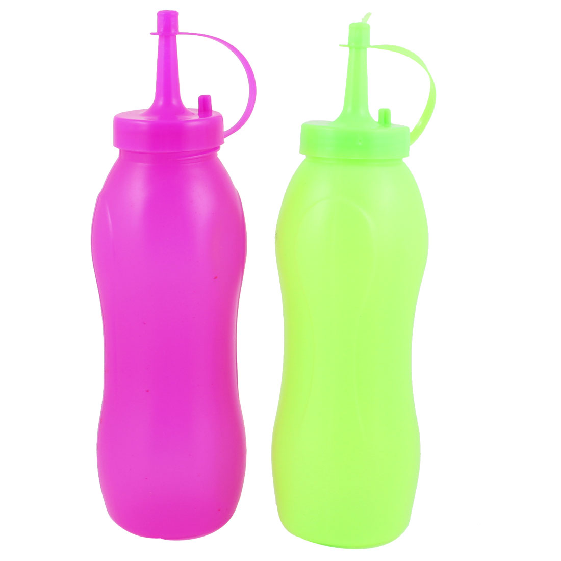 300ml Plastic Butter Sauce Condiment Dispenser Bottle Pair Fuchsia Light Green
