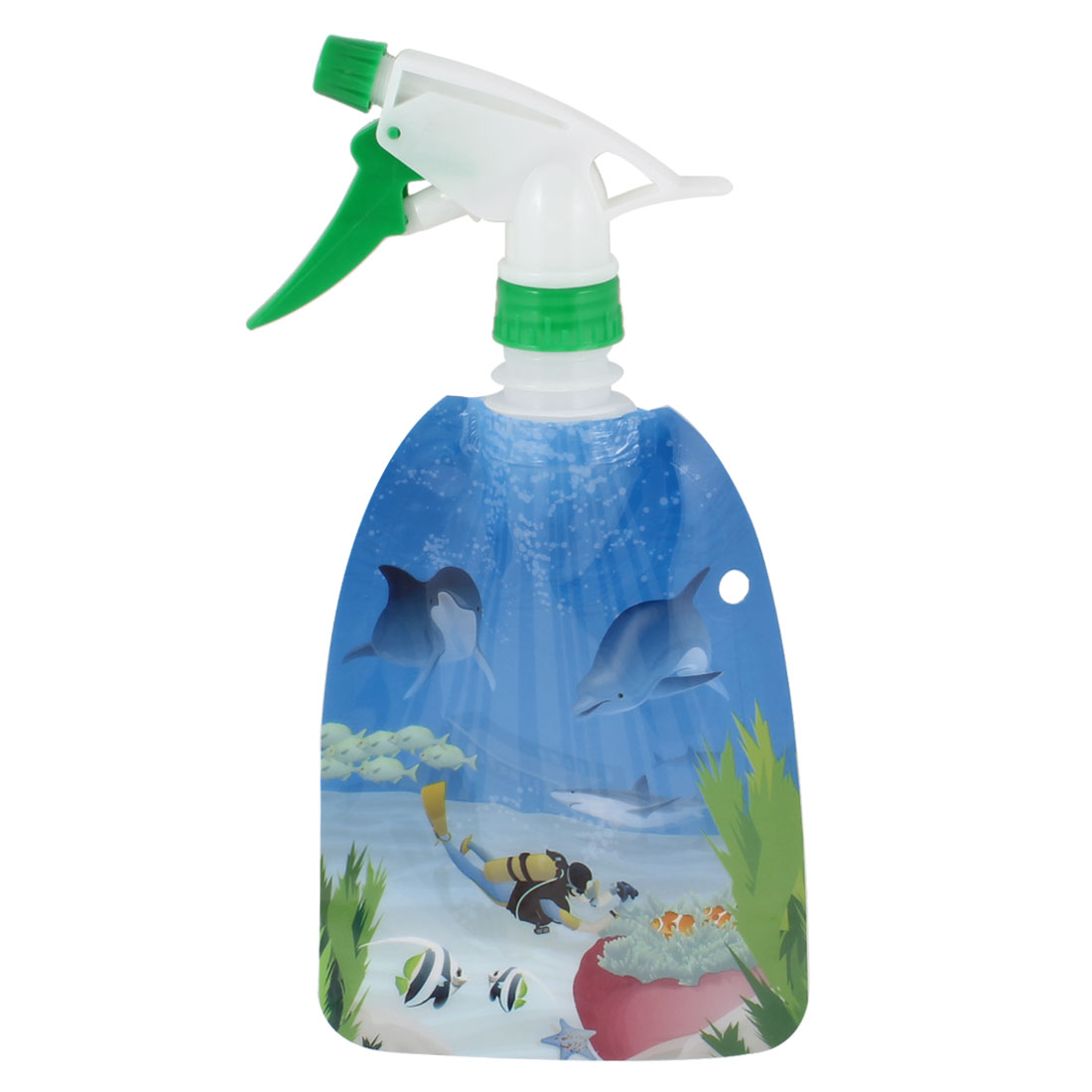 Coral Dolphins Print Plastic Refillable Hairdress Bottle 300ml Blue Green