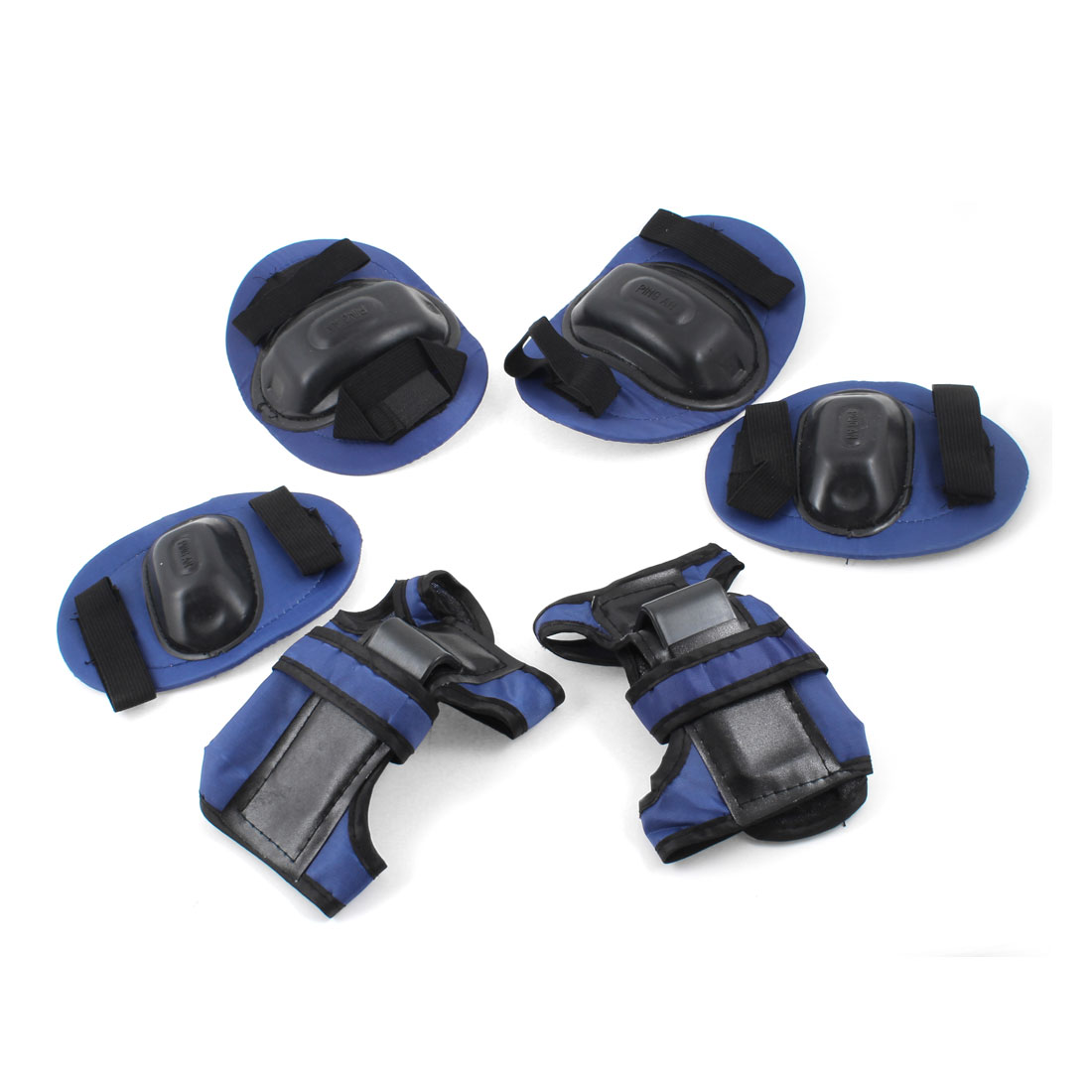 Child Dark Blue Black Stretchy Band Wrist Palm Elbow Knee Protectors 3 Pairs