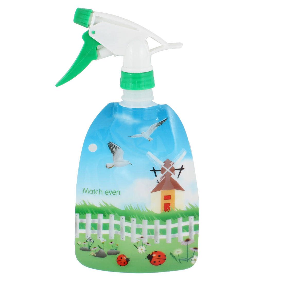 House Pigeon Pattern Press Handle Standable Hair Solan Bottle 300ml Green White