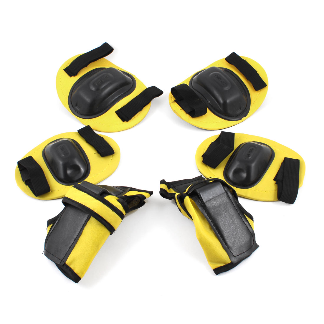 3 Pairs Yellow Black Elastic Band Wrist Palm Elbow Knee Protectors for Kids