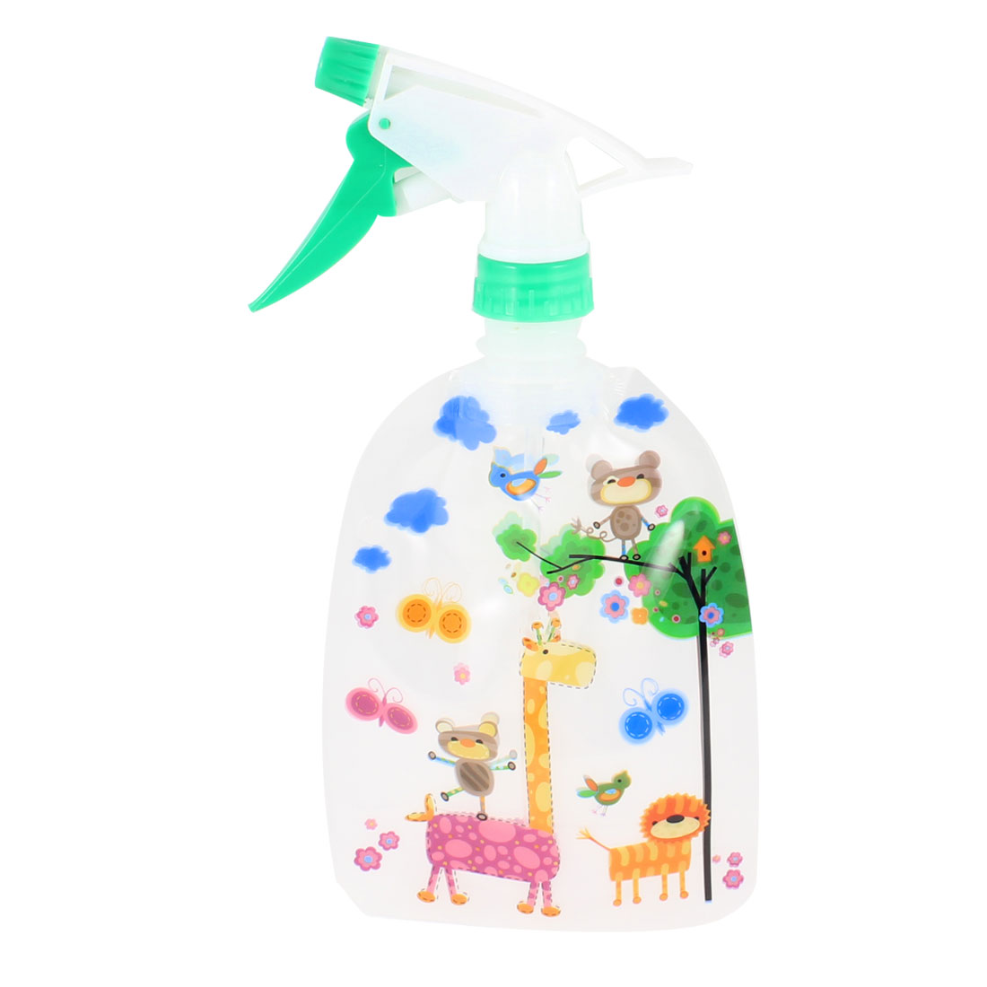 Giraffe Print Standable Plastic Trigger Flower Spray Bottle 300ml Green Orange