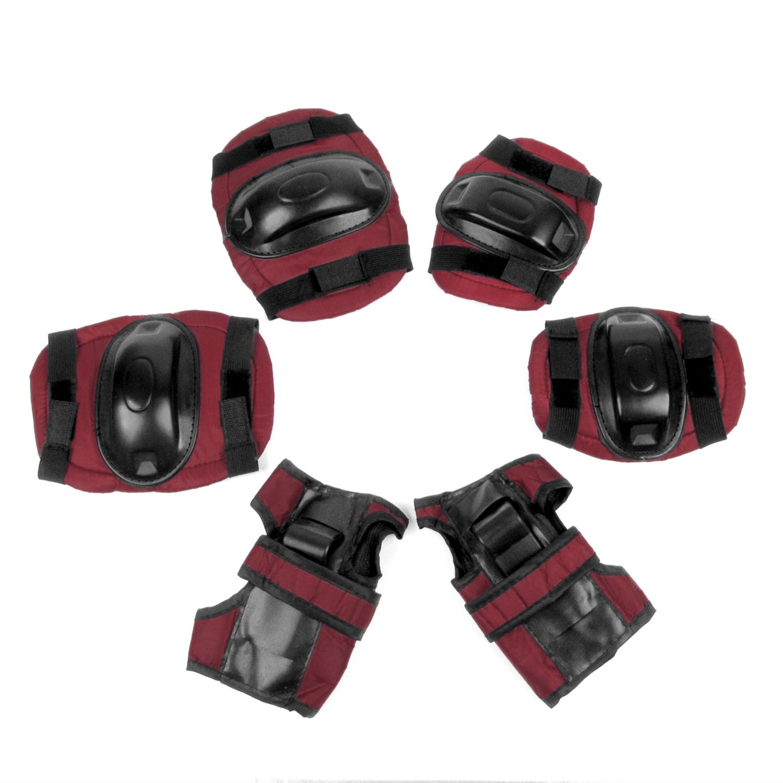 3 Pairs Burgundy Black Elastic Band Wrist Palm Elbow Knee Protectors for Kids