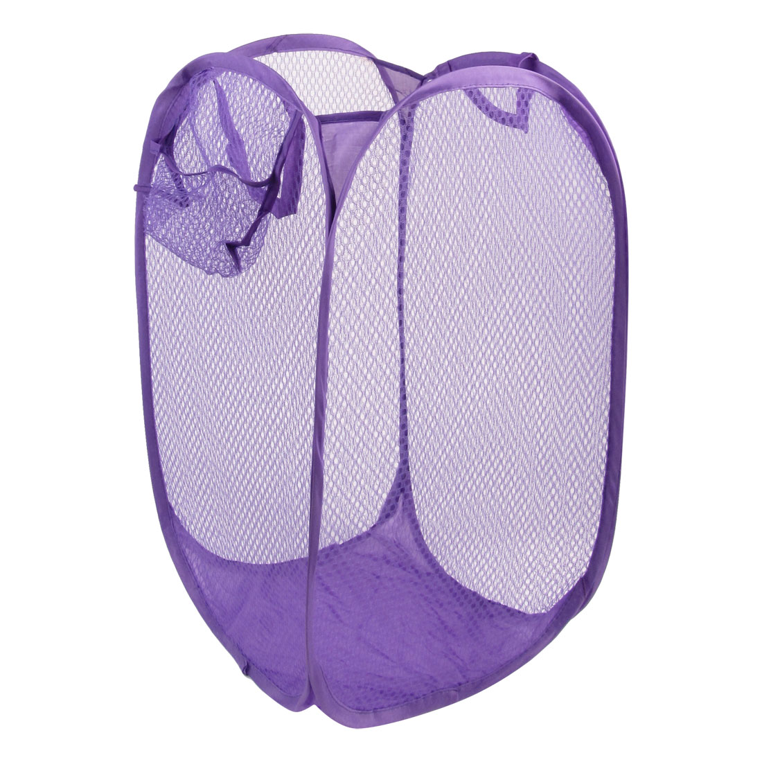 Mesh Design Pop up Bag Clothes Storage Foldable Laundry Basket Purple