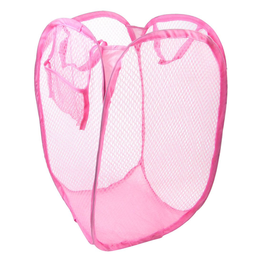 Washroom Nylon Pop up Clothes Bag Folding Mesh Storage Laundry Basket Pink