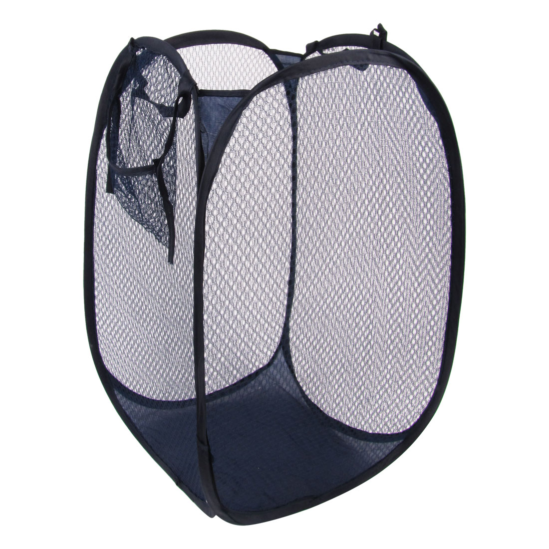 Foldable Mesh Designed Washing Clothes Laundry Basket Bins Hamper Steel Blue