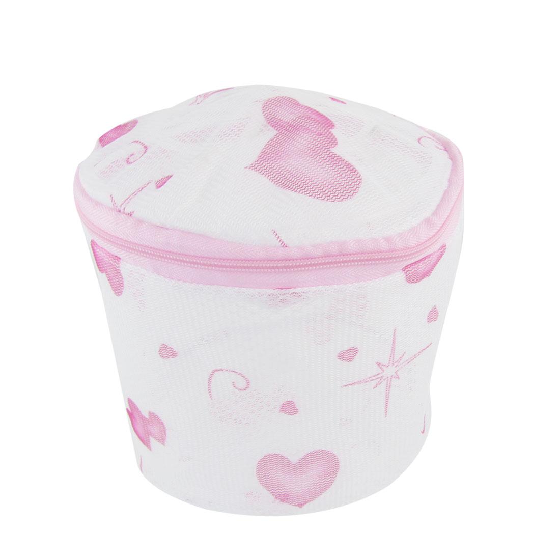 Fuchsia Heart Printed Lingerie Bra Plastic Frame Meshy Laundry Basket
