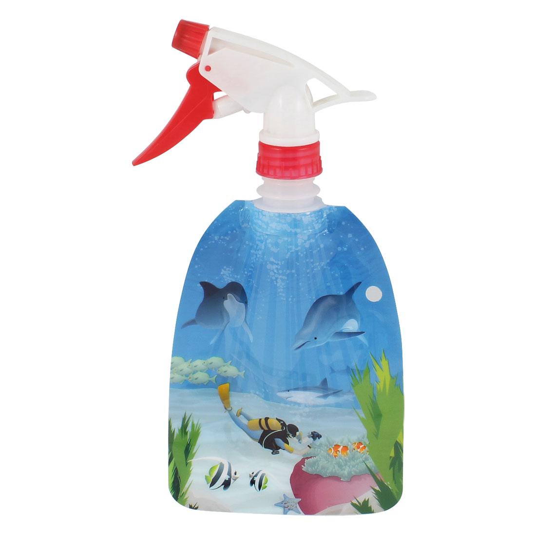 300ml Coral Print Plastic Trigger Flower Gardening Bottle Light Blue Red