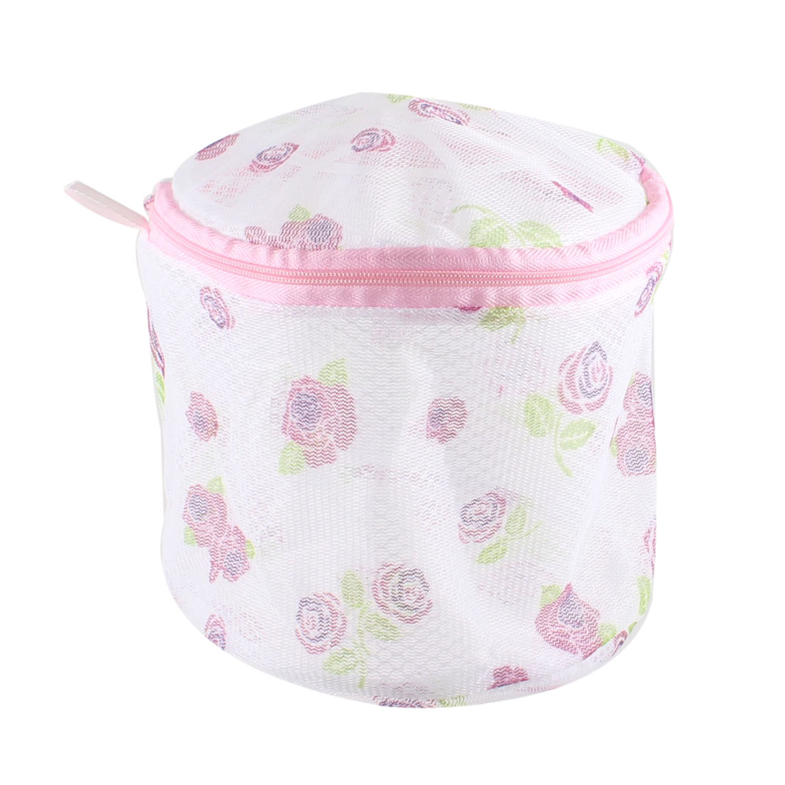 Fuchsia Purple Rose Pattern Underwear Bra Mesh Wash Laundry Basket Zipper Bag