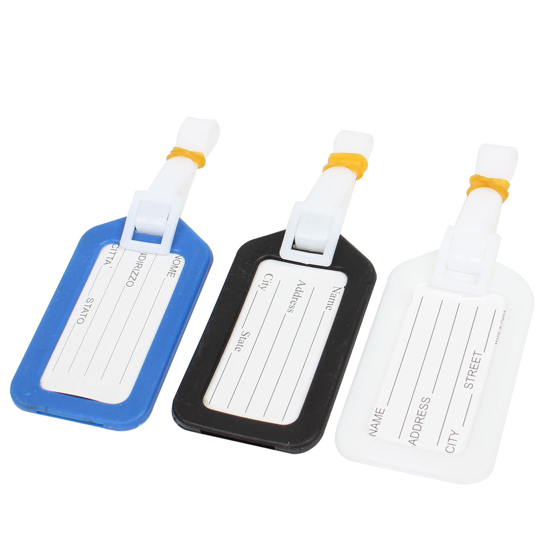 Black White Blue Hard Plastic Backpack Luggage Label Tag 3 Pcs for Travellers