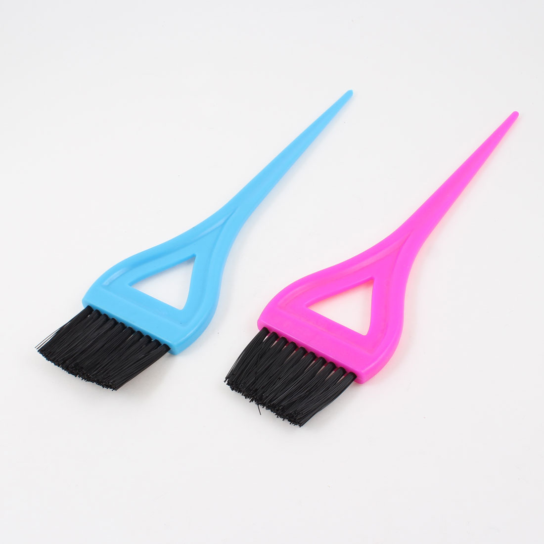 2pcs Plastic Bristle Hair Dye Color Salon Brush Hairdressing Tool Fushcia Blue