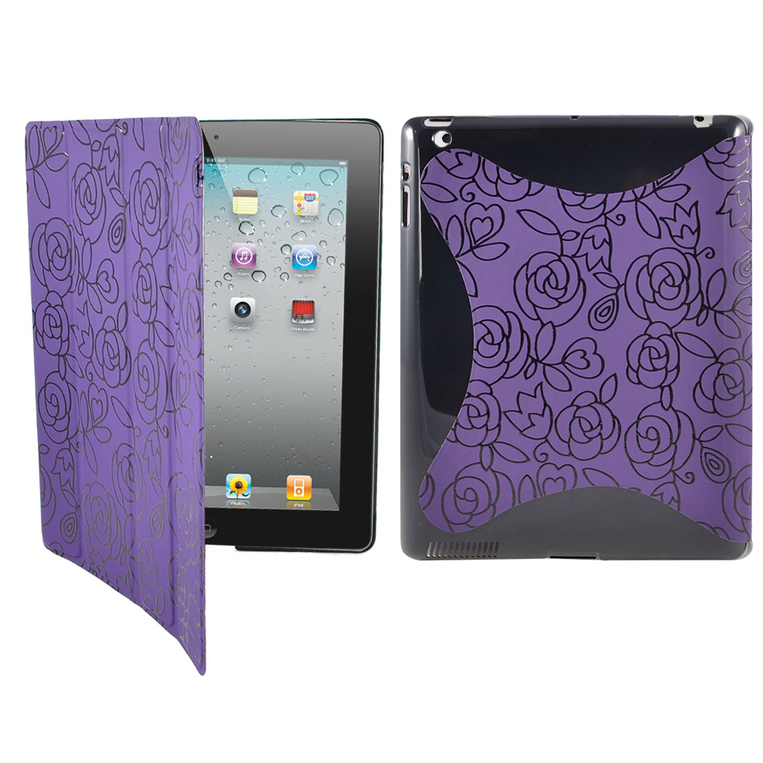 Black Rose Flower Purple PU Leather Wake Up Sleep Case Smart Cover for iPad 2 3 4
