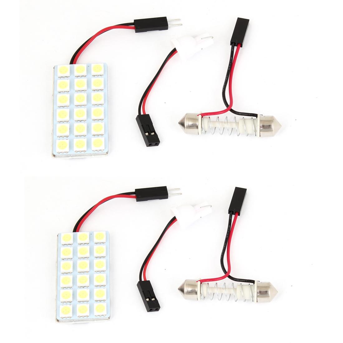 Car Interior White 18 LED 5050 SMD Dome Light Bulb w T10 Festoon Adapters 2pcs