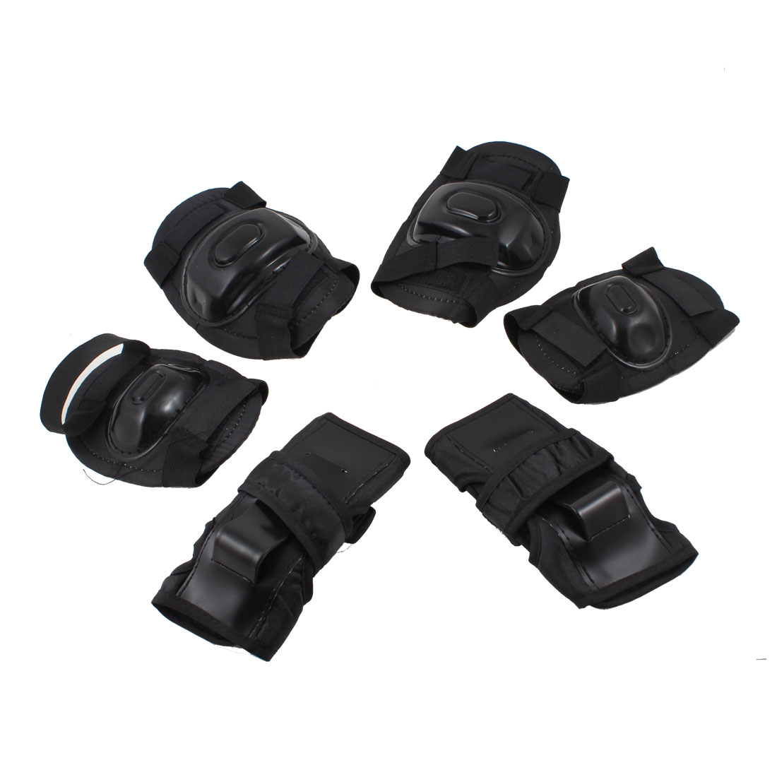 Kids 3 Pairs Black Cycling Skating Elbow Knee Palm Support Protectors Set