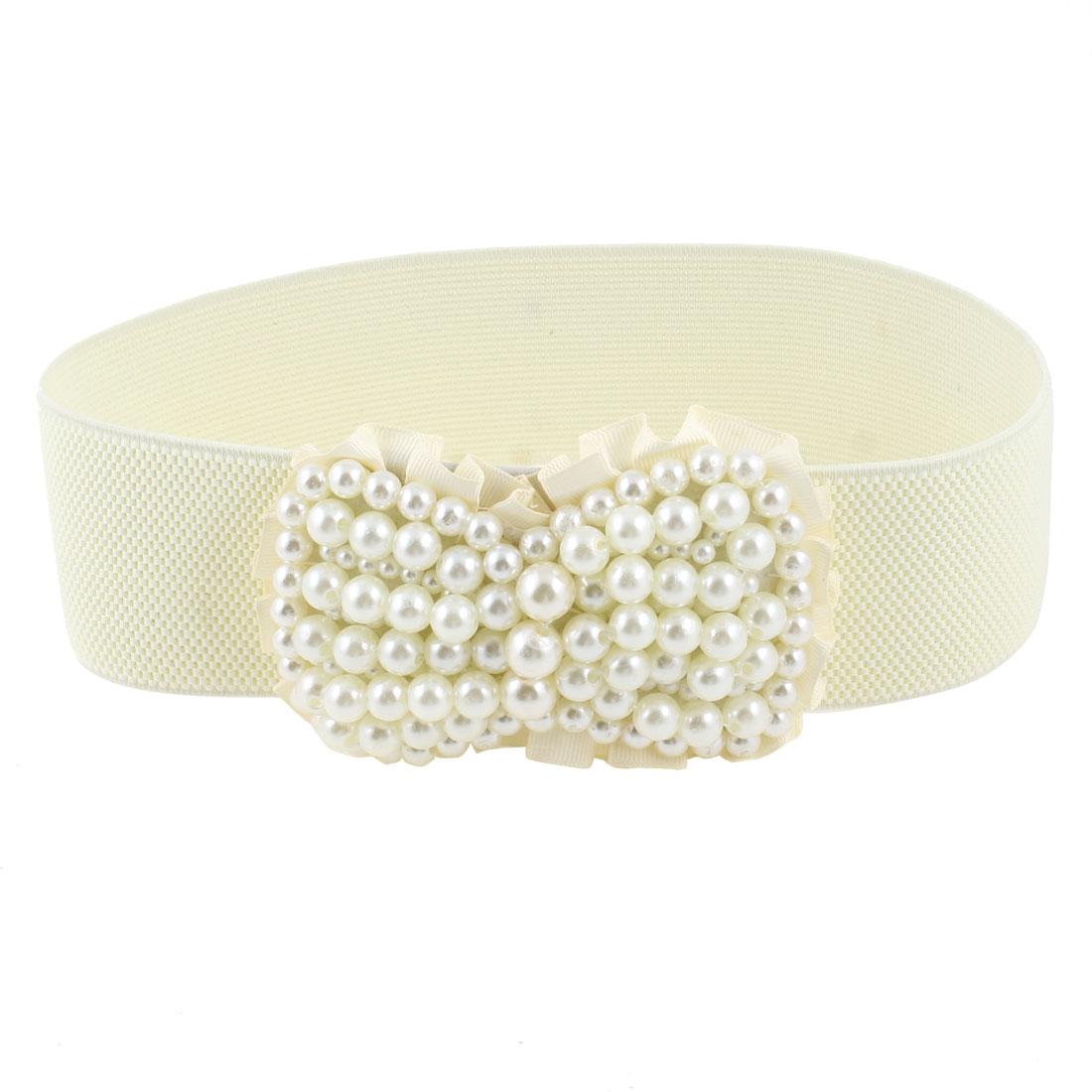 Ladies Plastic Pearl Bow Tie Press Stud Buckle Offwhite Elastic Wide Waist Belt