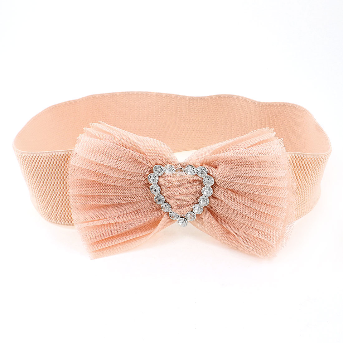 Ladies Faux Crystal Press Stud Buckle Pink Stretch Cinch Wide High Waist Belt