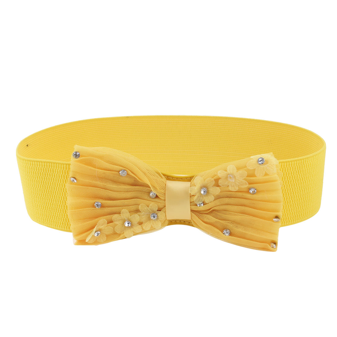 Lady Flower Bowknot Press Stud Buckle Stretch Wide Skinny Cinch Waistband Yellow